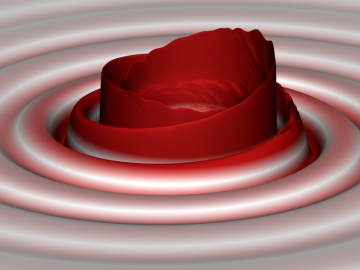 Computer designed image of gravitational waves produced as two black holes merge (Credits: S. Ossokine, A. Buonanno, R.Haas /AEI, Simulating eXtreme Spacetime project)