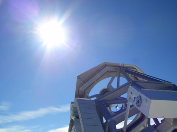 A part of the the skywards GREGOR Telescope in Tenerife observing the sun