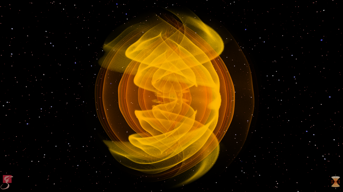 Visualization of gravitational waves produced as two black holes merge (Credits: S. Ossokine, A. Buonanno / AEI, Simulating eXtreme Spacetime project, W. Benger/Airborne Hydro Mapping GmbH)