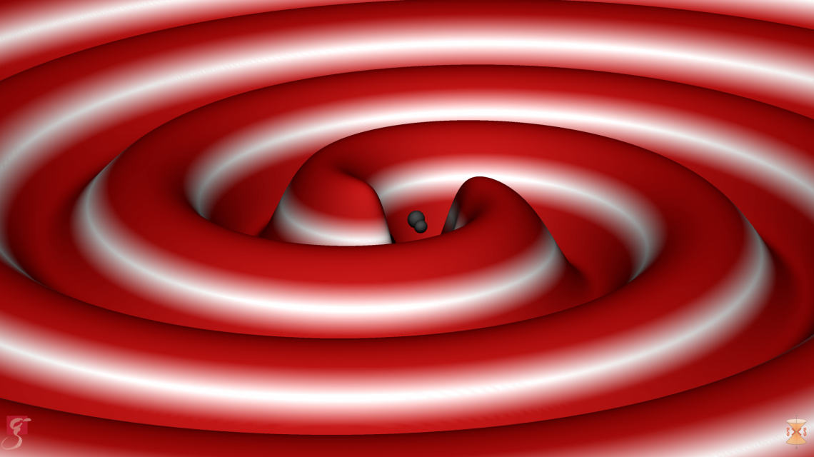 Visualization of gravitational waves produced as two black holes merge  (Credits: S. Ossokine, A. Buonanno, R. Haas /AEI, Simulating eXtreme Spacetime project)