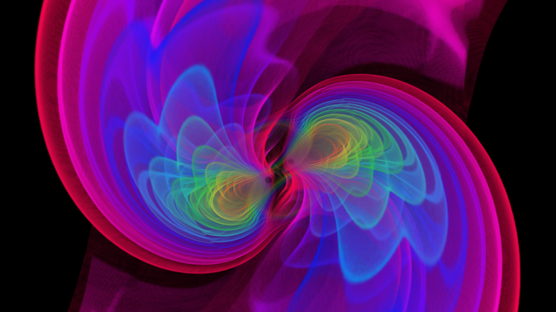 Visualization of gravitational waves produced as two black holes merge (Credits: S. Ossokine, A. Buonanno/AEI, Simulating eXtreme Spacetime project, D. Steinhauser/Airborne Hydro Mapping GmbH)